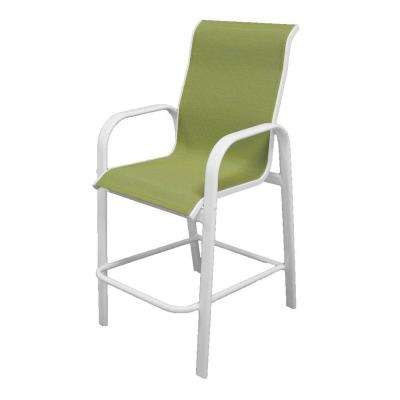 Marco Island White Commercial Grade Aluminum Sling Outdoor Bar Stool in Dupione Kiwi
