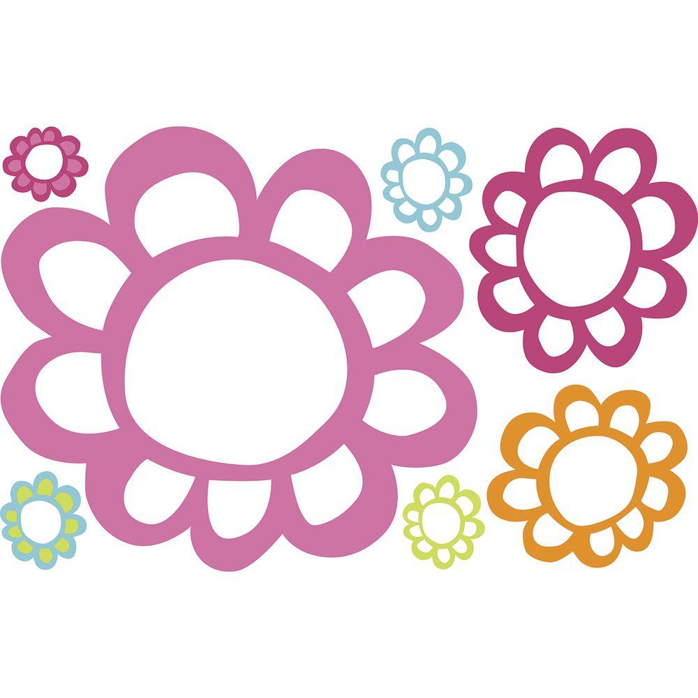 RoomMates 2.5 in. x 27 in. Floral Dry Erase Peel and Stick Wall Decals