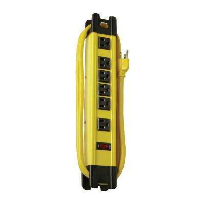 Metal 6-Outlet Workshop Power Strip with Cord Wrap and 2-Transformer Outlets 15 ft. Power Cord - Yellow