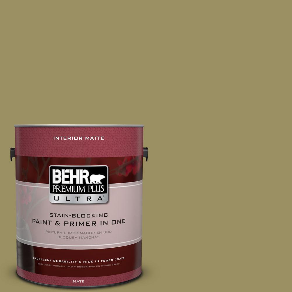 1 gal. #390F-6 Tate Olive Flat/Matte Interior Paint
