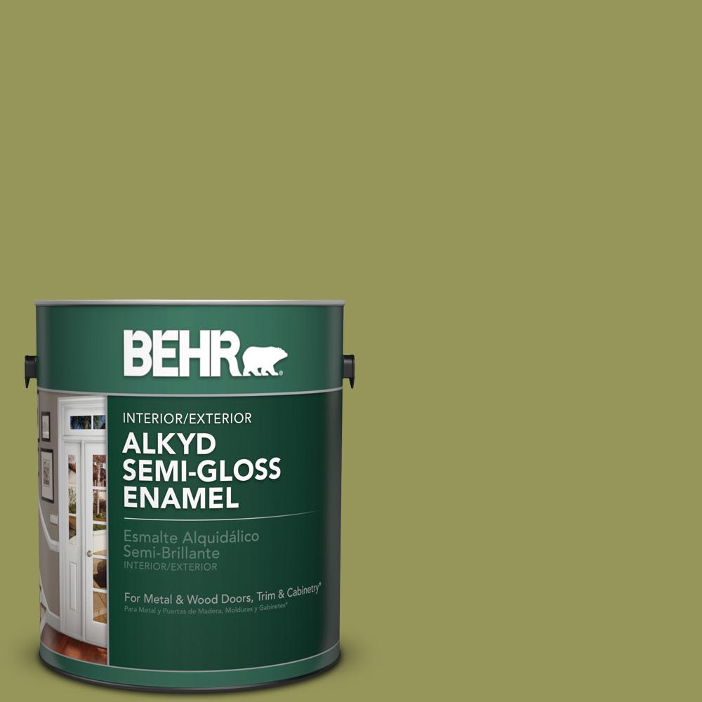 1 gal. #M340-6 Spinach Dip Semi-Gloss Enamel Alkyd Interior/Exterior Paint