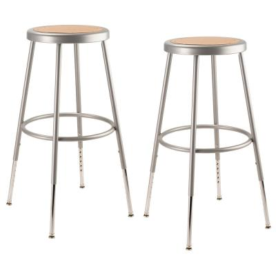 25 in. to 33 in. Height Grey Adjustable Heavy-Duty Steel Stool (2-Pack)