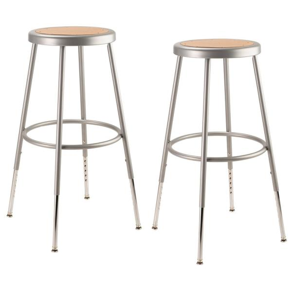 National Public Seating 25 In 33 In Height Grey Adjustable Heavy Duty Steel Stool 2 Pack 6224h 2 The Home Depot