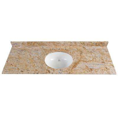 61 in. x 22 in. Stone Effects Vanity Top in Tuscan Sun with White Basin