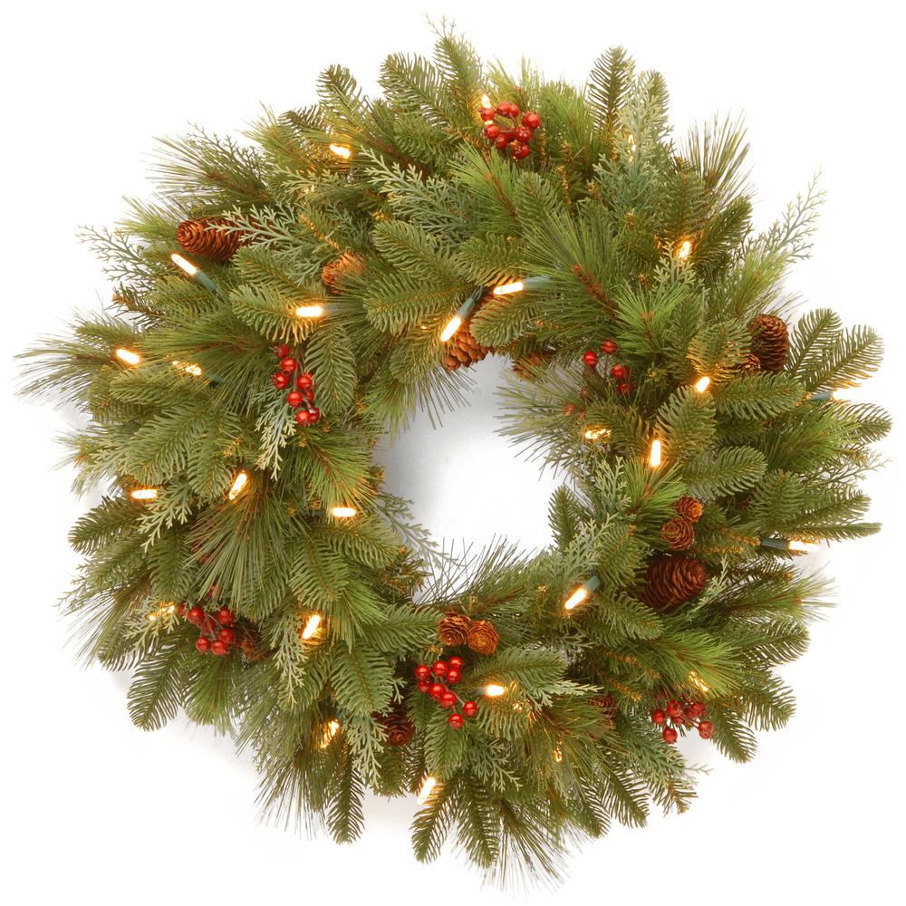 24 in. Noelle Artificial Christmas Wreath with Battery Operated Warm White