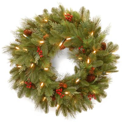 24 in. Noelle Artificial Christmas Wreath with Battery Operated Warm White LED Lights