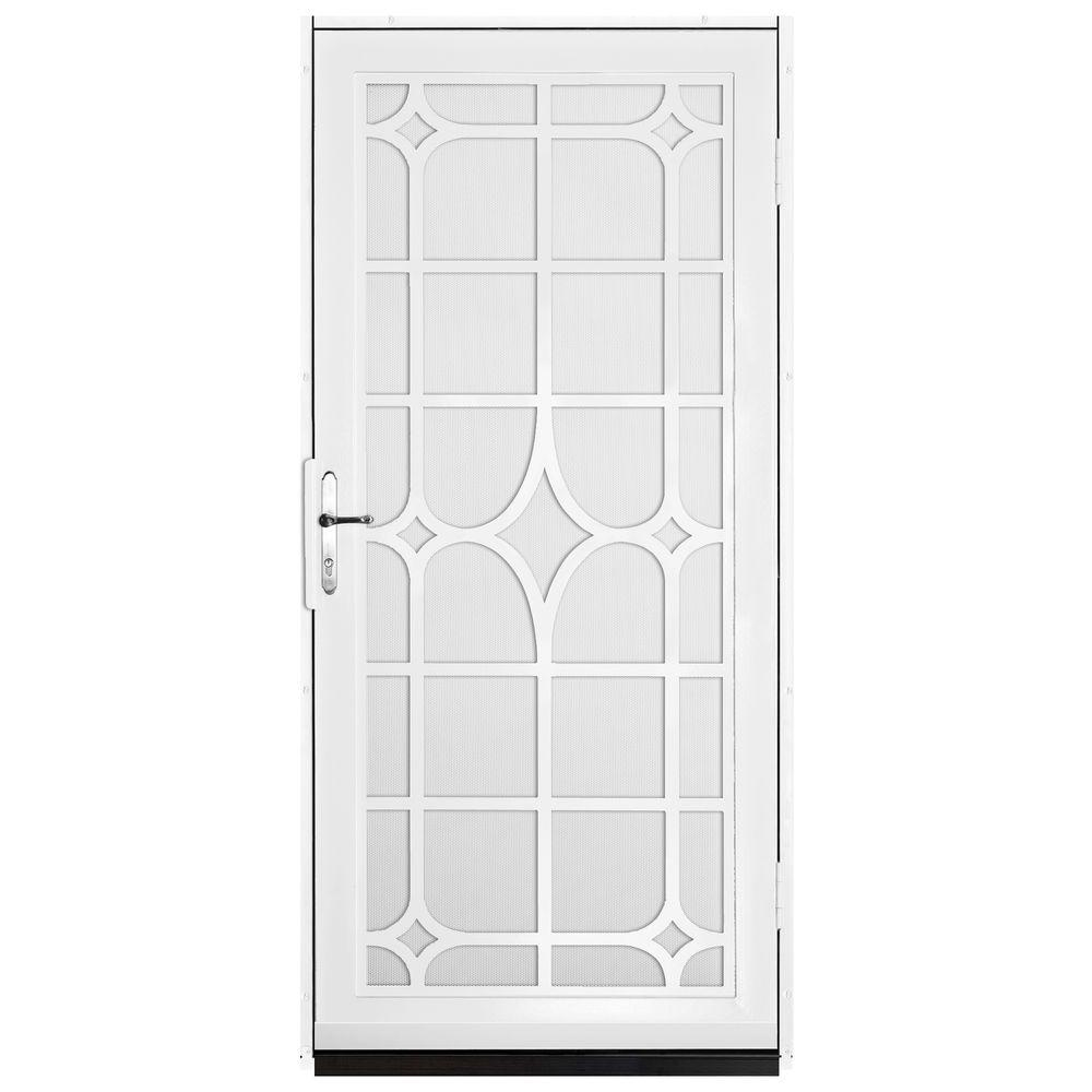 Unique Home Designs 36 in. x 80 in. Lexington White Surface Mount Steel Security Door with White Perforated Screen and Brass Hardware