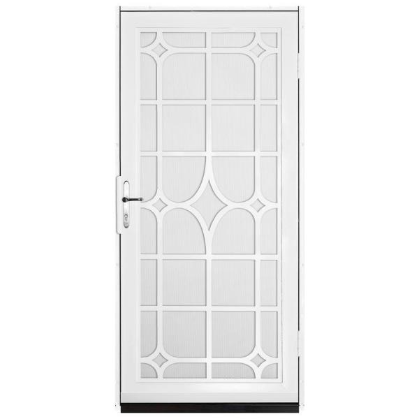 36 in. x 80 in. Lexington White Surface Mount Steel Security Door with White Perforated Screen and Brass Hardware