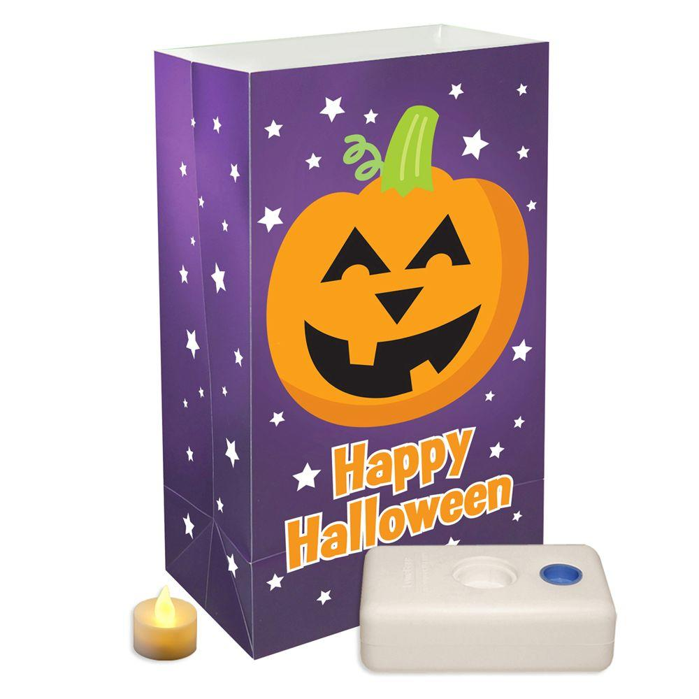 Battery Operated Pumpkin Luminaria Kit (12-Piece)