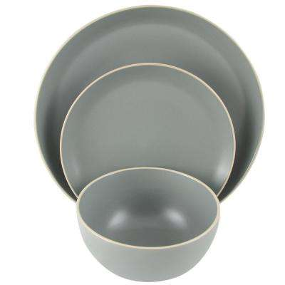 Rockaway 12-Piece Grey Dinnerware Set