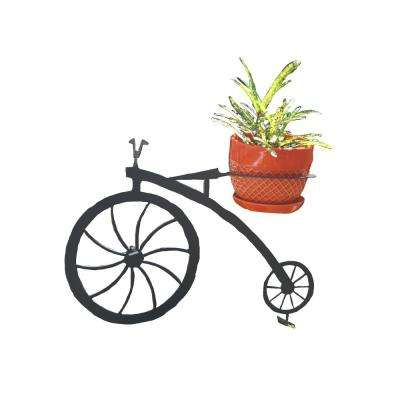 Bicycle Design Lawn Art 15 in. H x 19.3 in. W x 7 in. D with 6 in. Opening Black Metal 3D Standing Planter