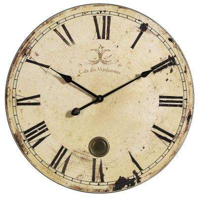 23 in. Oversized Yellow and Cream Wall Clock