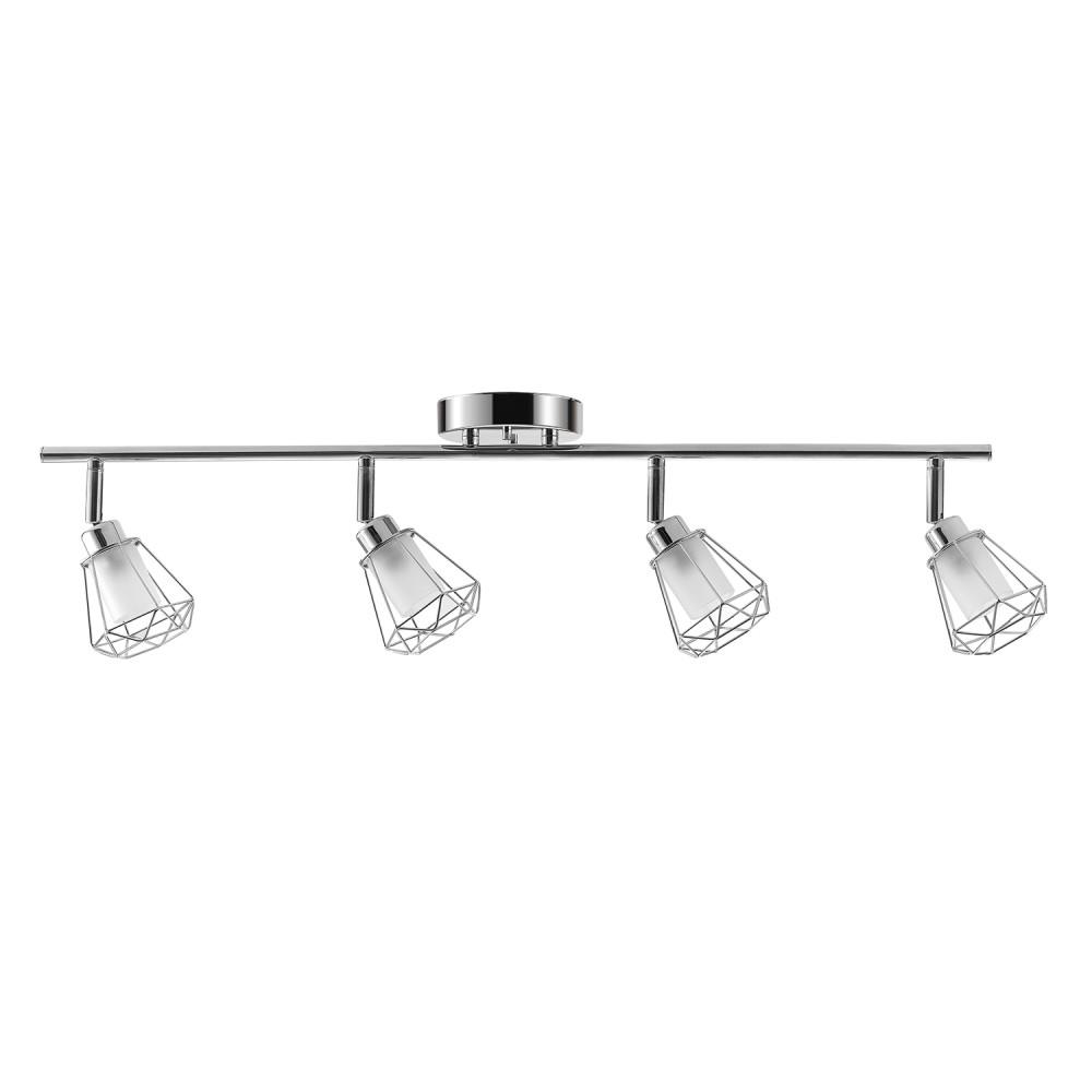 GLOBEELECTRIC Globe Electric Sansa 2.4 ft. 4-Light Chrome Track Lighting with Frosted Glass Shades