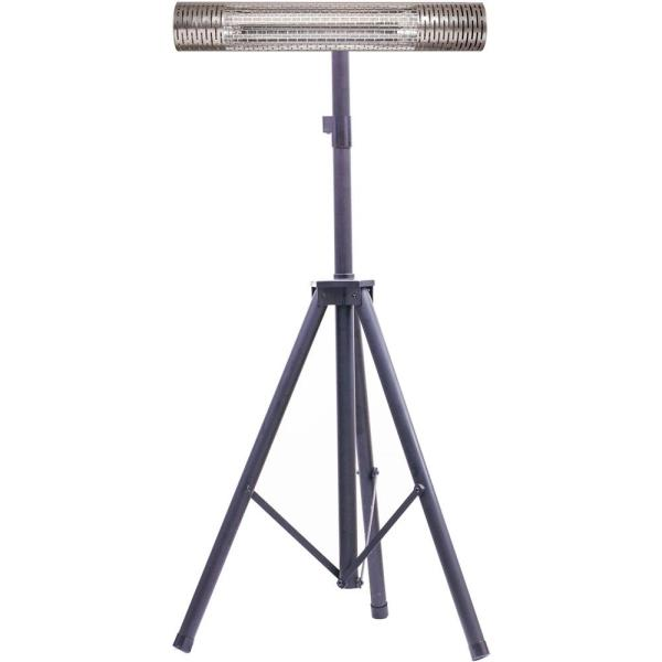 30.7 in. 1500-Watt Infrared Electric Patio Heater with Remote Control and Tripod Stand in Silver/Black