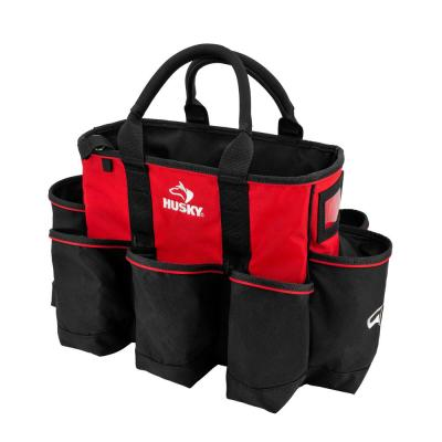14 in. Wide Mouth Water Resistant Supply Bag with padded handle comfort grips tape strap and 15 total pockets in Red
