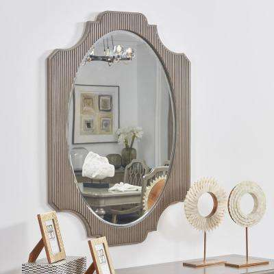 Dauphin Grey Cashmere Fluted Oval Vanity Wall Mirror 37.8 in. x 26 in.