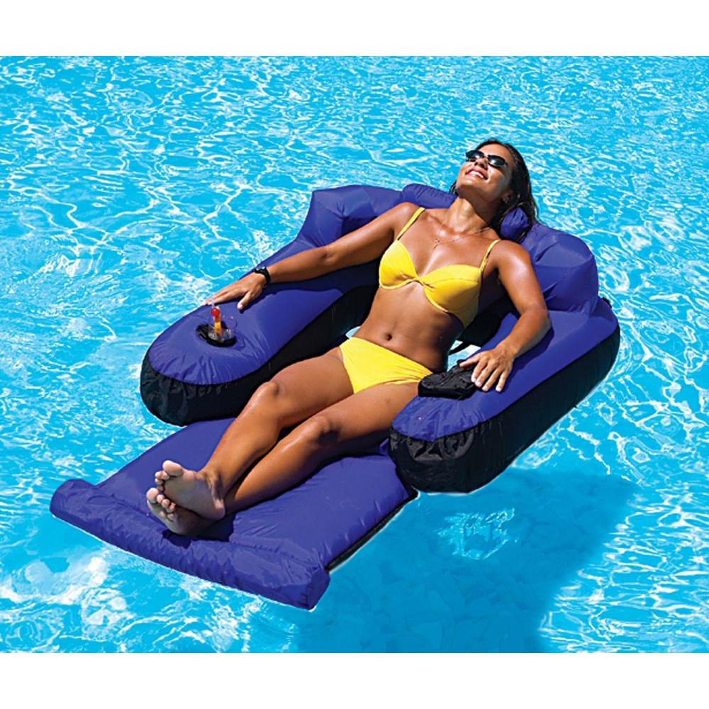 Swimline ultimate floating pool lounge nt145 the home depot for Motorized lounge chair pool float