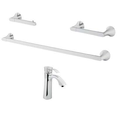 Tiber Single-Hole Single-Handle Bathroom Faucet with Bath Hardware Set in Polished Chrome