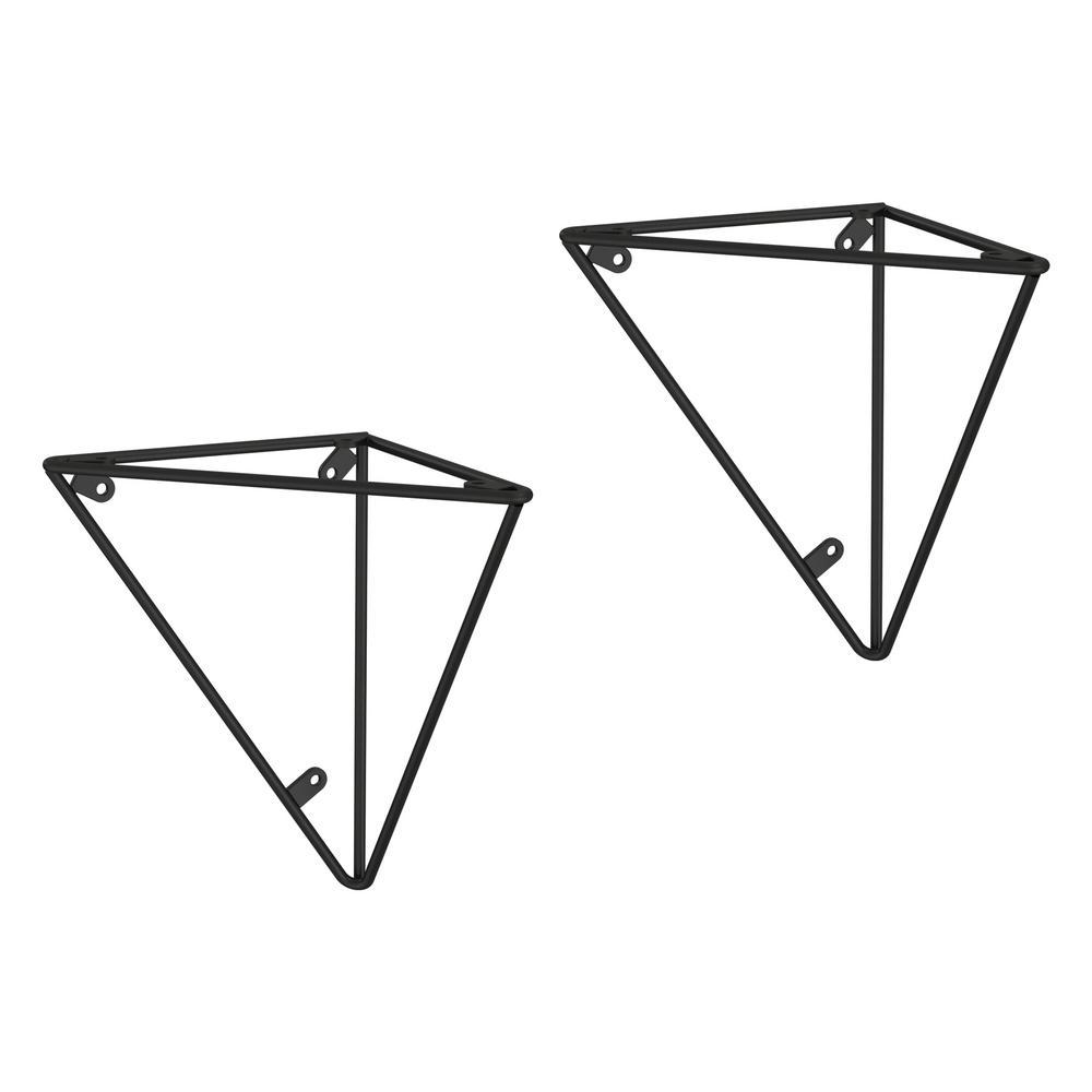 6.28 in. Matte Black Steel Geometric Decorative Shelf Bracket (2-Pack)