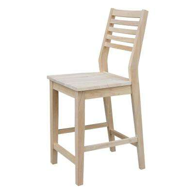 Mid Century Modern 24 In. H Slat Back Unfinished Counter Stool