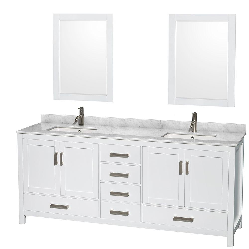 Wyndham Collection Sheffield In Double Vanity In White With - Bathroom vanities northridge ca