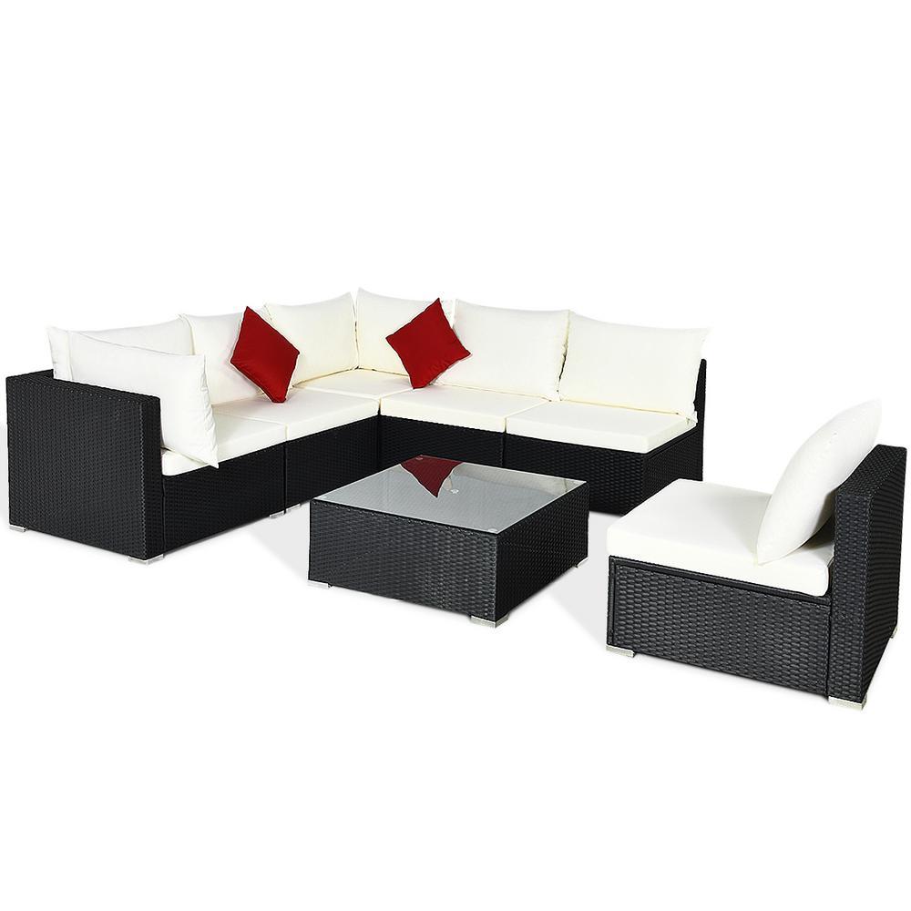 Island 7-Piece Wicker Patio Conversation Set with Beige Cushions