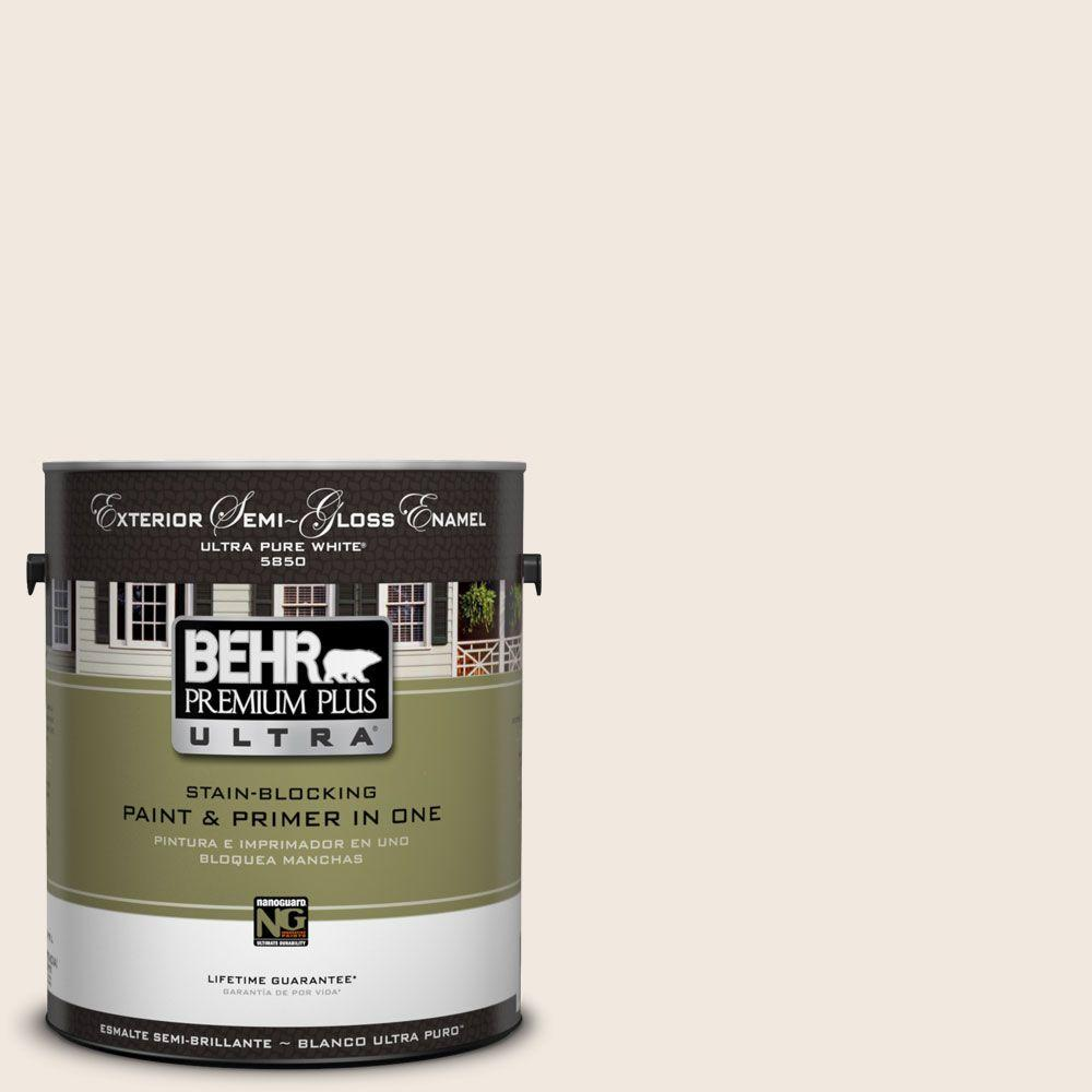 BEHR Premium Plus Ultra 1-Gal. #UL150-9 Pillar White Semi-Gloss Enamel Exterior Paint