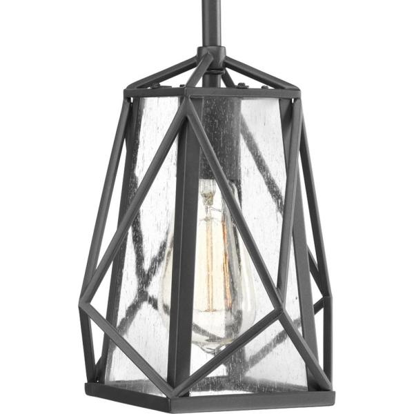 Marque Collection 1 -Light Graphite Pendant with Antique Textured Glass