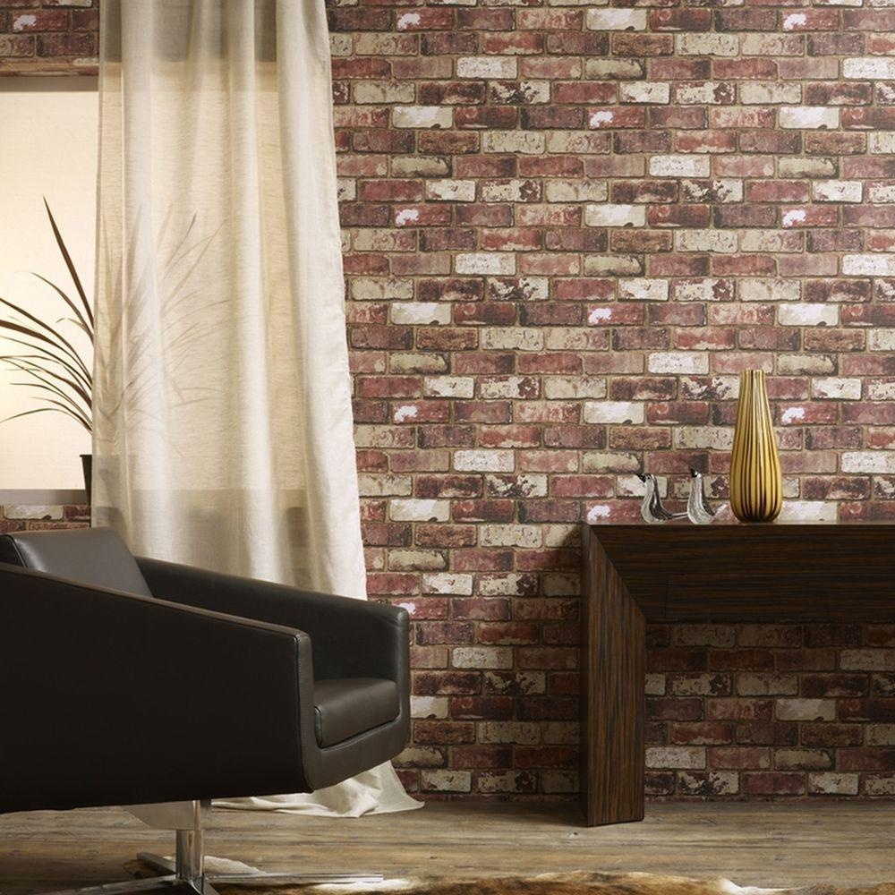 Graham & Brown 56 sq. ft. Brick Red Wallpaper