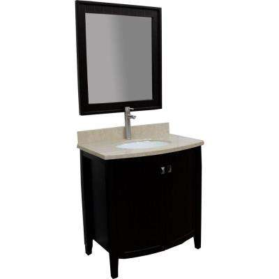 London 32 in. Vanity in Espresso with Marble Vanity Top in Cream and Mirror