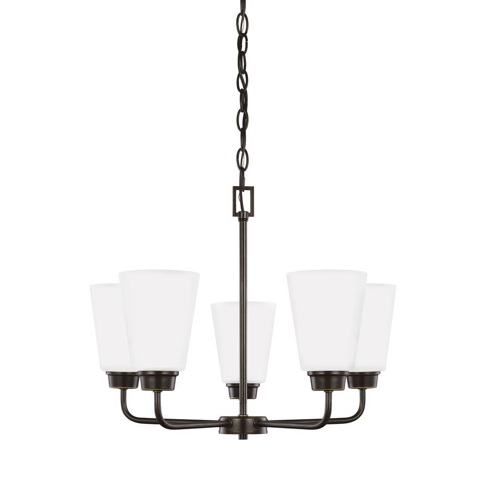 Kerrville 5-Light Heirloom Bronze Chandelier with LED Bulbs