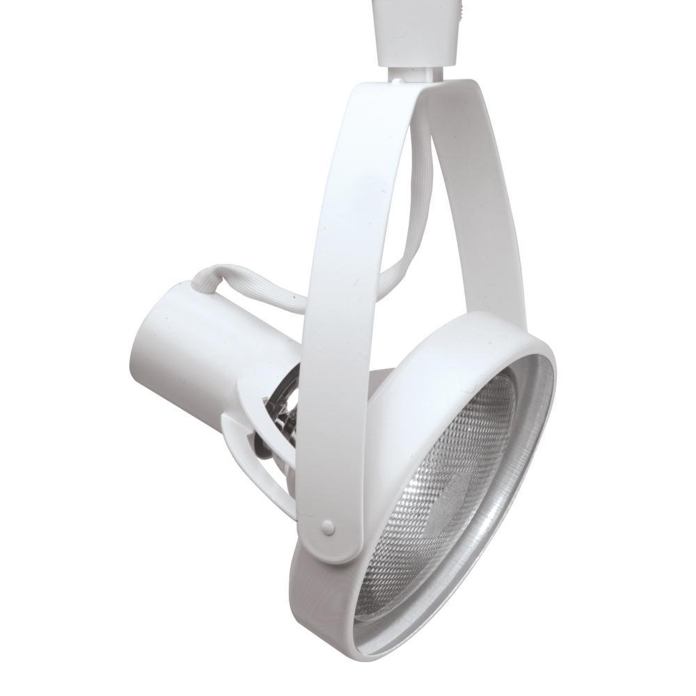 Halo Lazer 1-Light White Track Lighting Head Lamp, Front