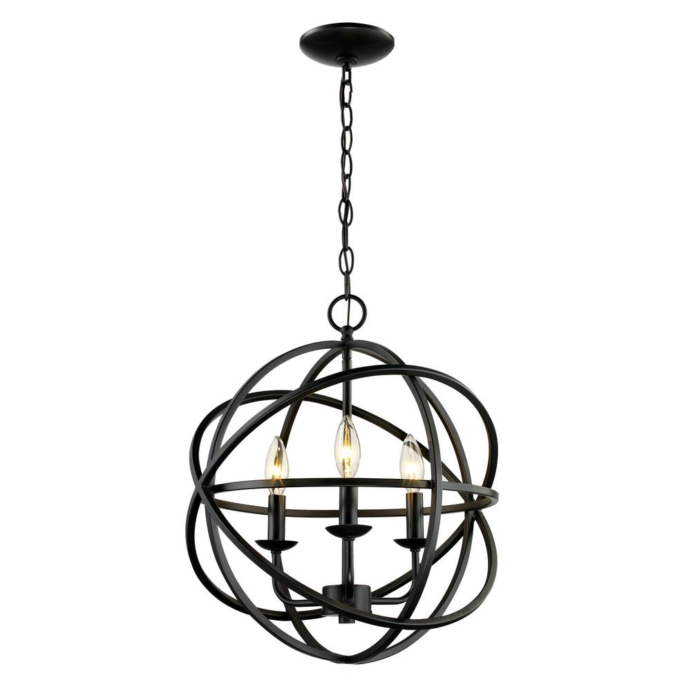 Bel Air Lighting 3 Light Rubbed Oil Bronze Pendant