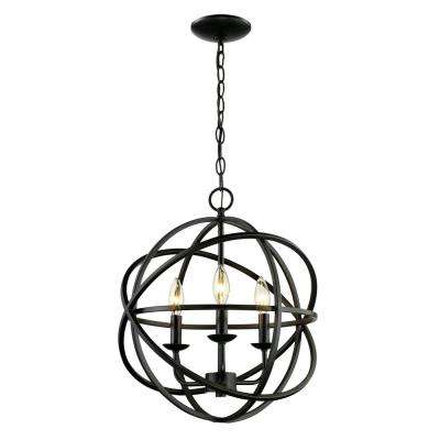 3-Light Rubbed Oil Bronze Pendant
