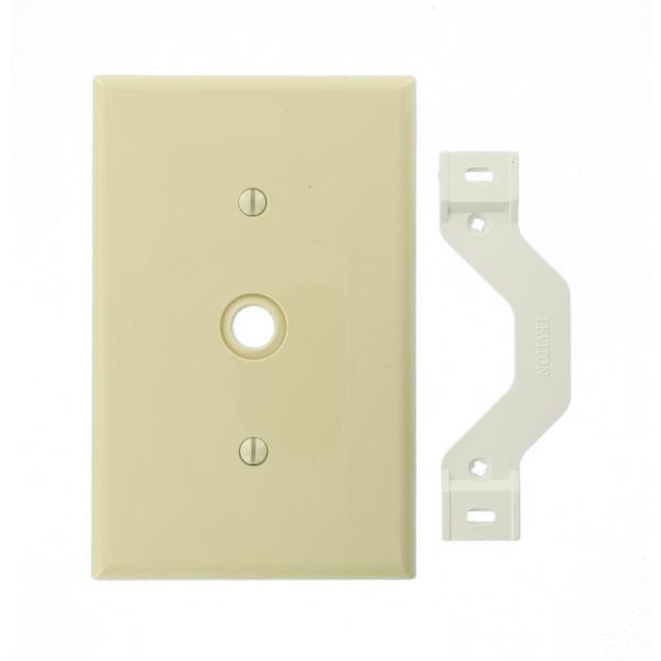 1-Gang Midway 0.406 in. Hole Device Telephone/Cable Wall Plate, Ivory