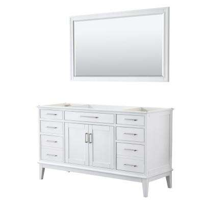 Margate 59 in. W x 21.5 in. D Bath Vanity Cabinet Only with 56 in. Mirror in White