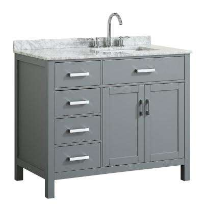 Hampton 43 in. W x 22 in. D Bath Vanity in Grey with Marble Vanity Top in White with White Basin