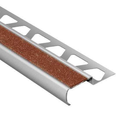 Trep-G-S Brushed Stainless Steel/Nut Brown 11/32 in. x 4 ft. 11 in. Metal Stair Nose Tile Edging Trim