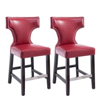 Kings 24.5 in. Red Bonded Leather Bar Stool (Set of 2)