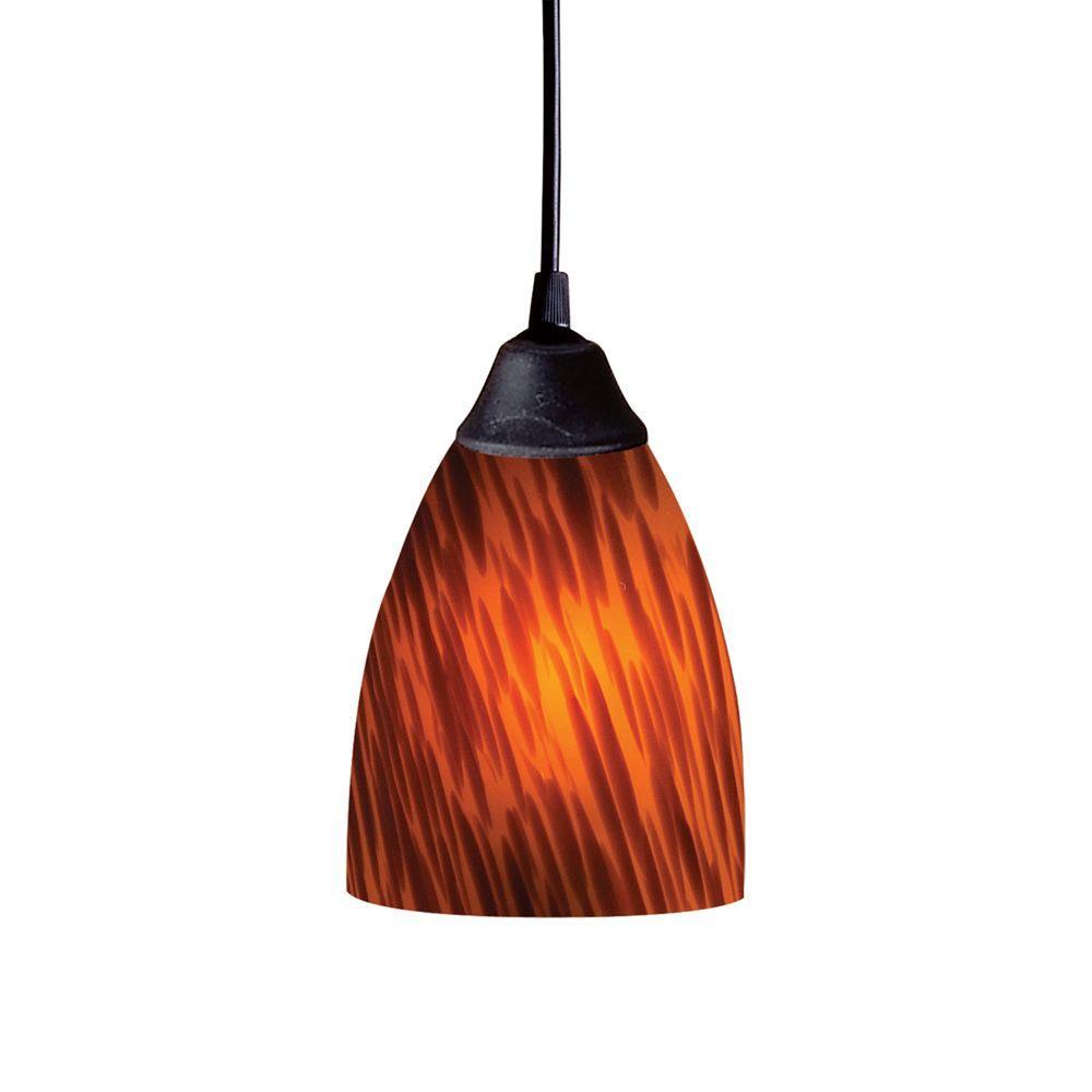 Titan Lighting Classico 1-Light Dark Rust Ceiling Mount Pendant