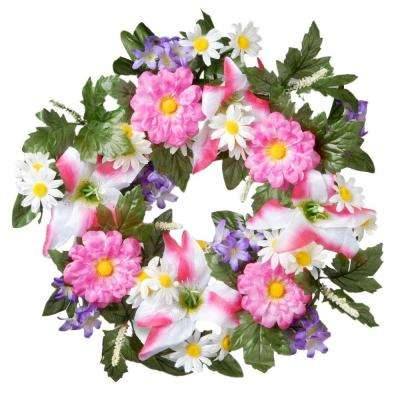 18 in. Decorated Wreath with Tiger Lilies and Daisies