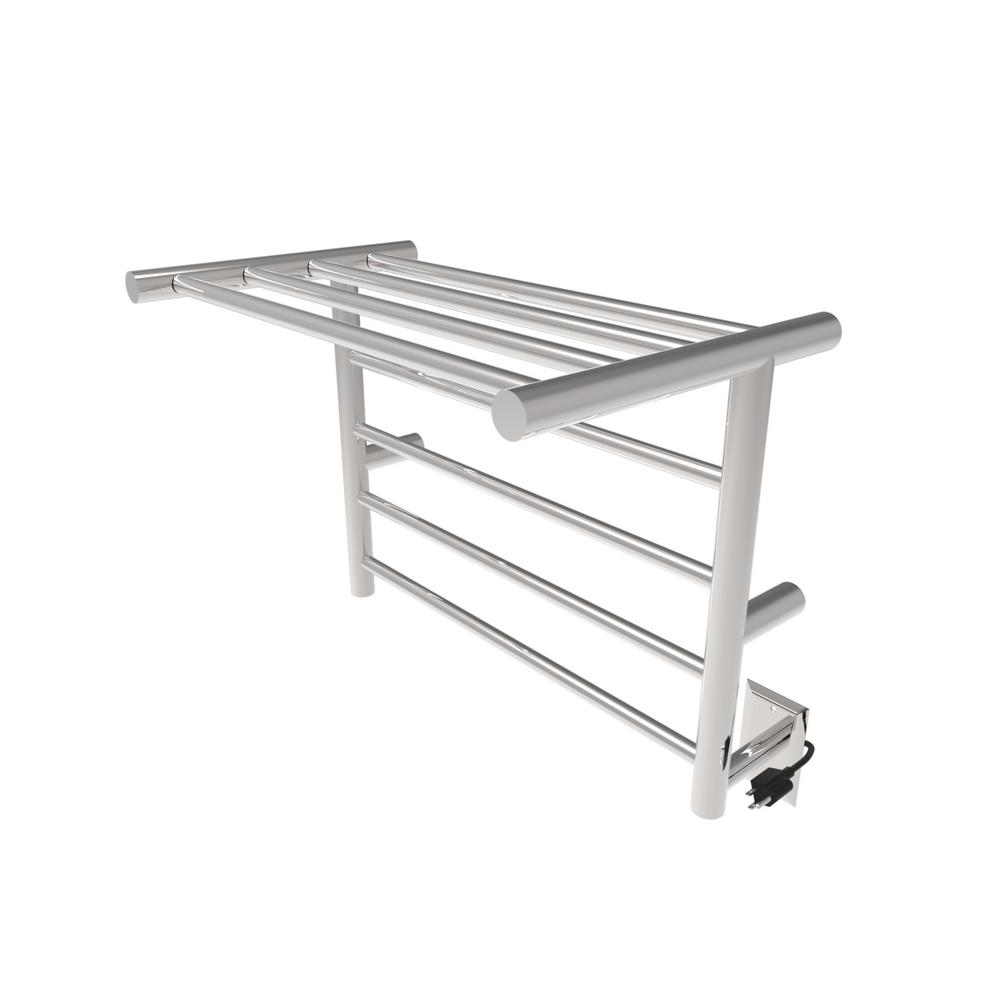 Amba 24 in. W x 20 in. H 8-Bar Radiant Shelf Electric Towel Warmer in Brushed Stainless Steel