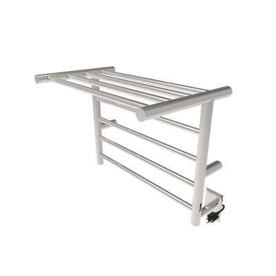 24 in. W x 20 in. H 8-Bar Radiant Shelf Electric Towel Warmer in Brushed Stainless Steel