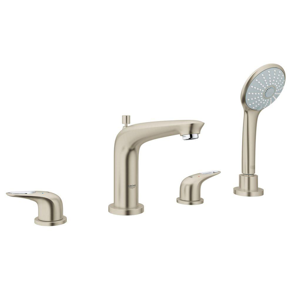 GROHE Eurostyle 2-Handle Deck-Mount Roman Bathtub Faucet with Handheld Shower in Brushed Nickel