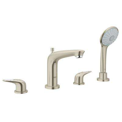 Eurostyle 2-Handle Deck-Mount Roman Bathtub Faucet with Handheld Shower in Brushed Nickel