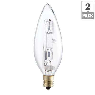 60-Watt Equivalent Halogen B10.5 Blunt Tip Candle Light Bulb (2-Pack)