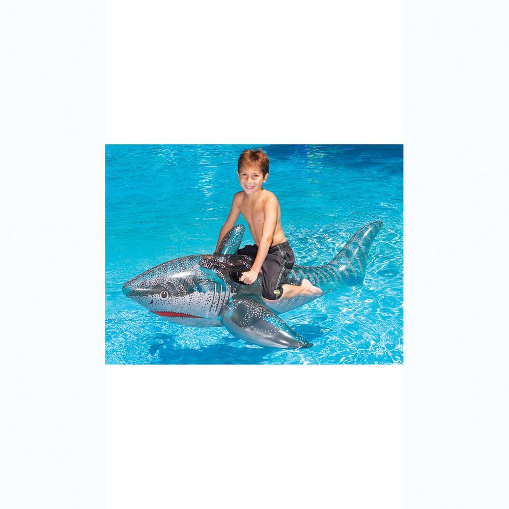 72 in. Grey Transparent Print Pool Shark Ride-On Pool Float