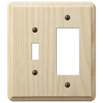 Contemporary 2 Gang 1-Toggle and 1-Rocker Wood Wall Plate - Unfinished Ash
