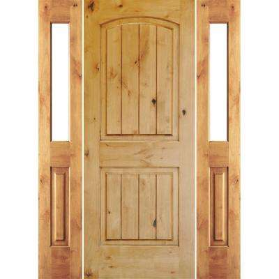 70 in. x 80 in. Rustic Unfinished Knotty Alder Arch V-Grooved Right-Hand Half Sidelites Clear Glass Prehung Front Door