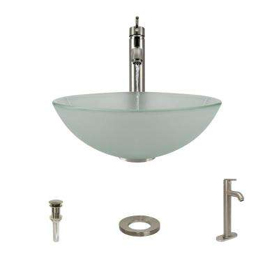 Glass Vessel Sink in Frost with 718 Faucet and Pop-Up Drain in Brushed Nickel